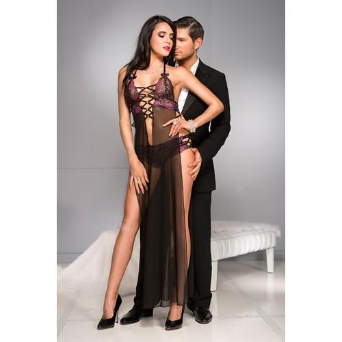 Durchsichtiges Kleid mit mehreren Bändern und extra lange Seitenschlitze